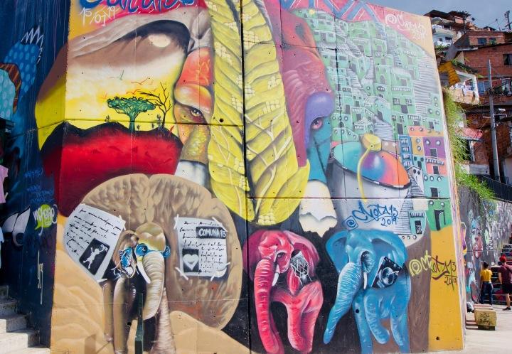 Kolumbien_Medellin_Comuna13_Streetart_Elefanten2 - 1